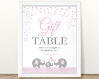 Printable Elephant Baby Shower Gift Table Sign, Elephant Printable Gift Table Sign, Grey Pink Gift Table Sign, Elephant Gift Table Sign