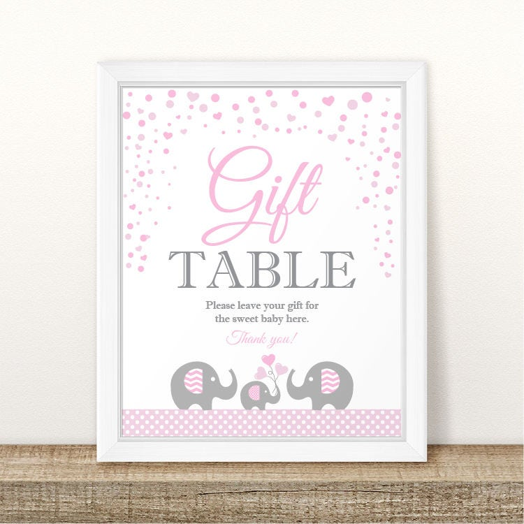 Baby Shower Please Mail Gifts ~ Printable elephant baby shower gift table sign