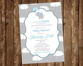 Elephant, Rain Clouds, Elephant Baby Shower, Baby Boy, Boy, Baby Shower Invitation - Printable or Printed with FREE SHIPPING