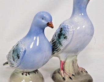 Pigeon Figurine Pair Mates Ceramic Blue Green Grey Black Rock Dove Japan Vtg