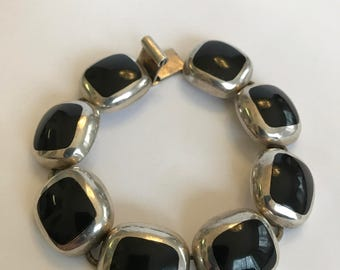 """Taxco Onyx Sterling Bracelet 7"""" 925 Silver Mexico Mexican Vintage Southwestern Jewelry Birthday Mother's Anniversary Graduation Gift Boho"""