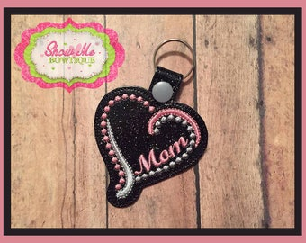 Mom Heart Design Key Fob Embroidery Design