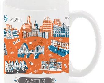 Austin Mug-City Mug-Coffee-Tea-Kitchen-Blue-Orange-Grey-Kitchen-Foodie-Cooking-Baking-Personalized-Custom
