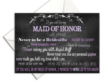 Will You Be My Maid of Honor with Job Description