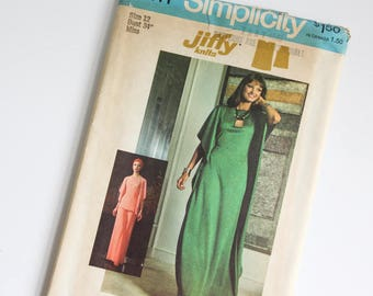 SIZE 12 7211 Simplicity Women's Dress or Caftan Top & Pants UNCUT Sewing Pattern Vintage 1970s Seventies Flowy Shirt For Stretch Knits Jiffy