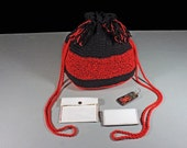 Handbag, Drawstring Bag, Hand Tooled Leather Key Ring, Boho Bag, Hippie Bag, Red and Black Bag, Handmade, Crochet