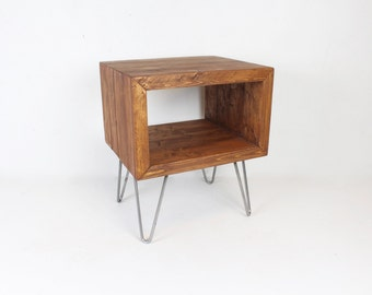 Mid Century Rustic Walnut End Table, Side Table, Nightstand, Hairpin Leg  Table,
