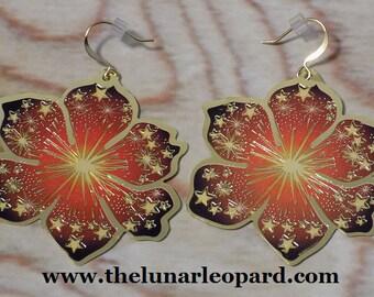 Firework Flowers Flat Metallic Earrings