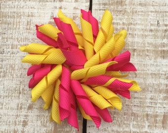 Hot Pink and Yellow Korker Bow - Korker hairbows