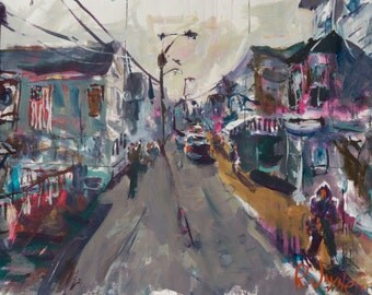 Expressive Provincetown Painting, Affordable Cityscape Artwork