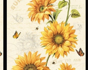 Golden Yellow Sunflower Panel, Bees, Butterlfies, Follow the Sun, Wilmington Prints, Lisa Audit (By (Panel)~