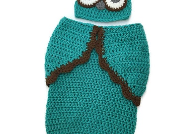 Newborn Crochet Owl Cocoon / Swaddler / Baby Shower Gift / Newborn Cocoon / Newborn Photography Props / Boy or Girl / Baby Sleep Sack