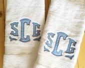 Monogram Applique Terry Cloth Hand Towel / Guest Towel