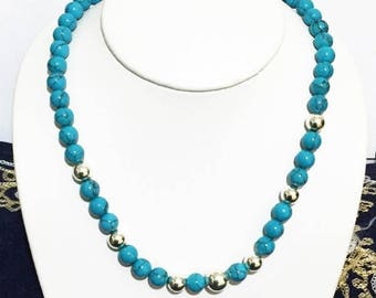 """Sterling Silver Large Beads and 8 mm Compressed Blue Turquoise Beads Beads Necklace,  18"""""""