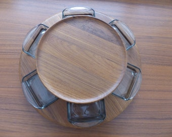 Vintage MCM Digsmed of Denmark Teak Lazy Susan Turntable with Glass Dishes and Fondue Forks
