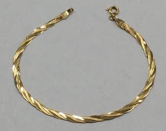 "VINTAGE 14K Yellow Gold 3mm Braided 7"" Chain Bracelet"