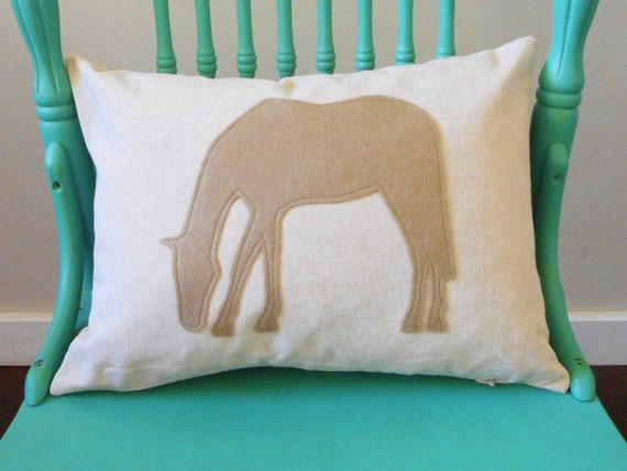 Horse Pillow Cover / Custom Colors / horse lover gift / equestrian decor / horse silhouette / horse pillow / barn pillow / pony pillow