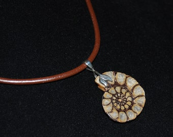 Beautiful Unique Ammonite Pendant with a Thick Brown Leather Cord and Sterling Silver Findings and Clasp