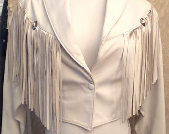 KISS White Leather Fringe Jacket