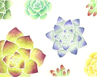 Elegant Succulents stamp set. Perfect for watercolor coloring with pencils. Can be used as flowers as well