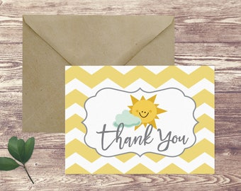 You Are My Sunshine Thank You Stationery Folded Notecards, Thank You Notecards, Personal Stationery Set, Thank You Cards, Shower Thank You