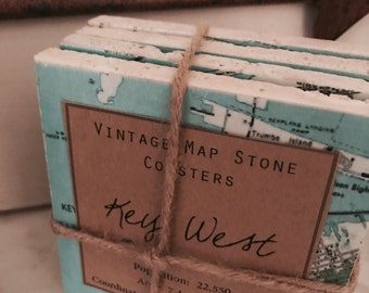 Key West FL Vintage Map Stone Coaster Set  - Free Shipping