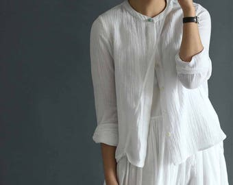 601---Layered Cotton Buttoned Top / Tunic / Bolero, Decored with Jade button, Long Sleeves Shirt,  Made to Order.