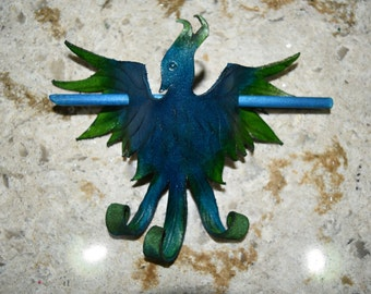 Hair stick blue flame phoenix - this one available now
