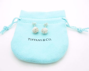 NEW Tiffany & Co. Sterling Silver Twist Knot Stud Earrings - Pouch