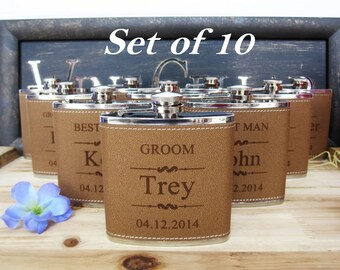 Set of 10 Custom Engraved Personalized Groomsmen Leather Flask Set // Great Groomsman and Bridesmaid Gift Ideas // Wedding Party Favors