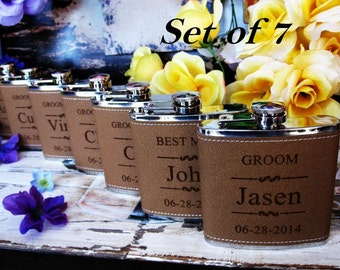 Set of 7 Personalized Groomsmen Gift Ideas // Bridal Party Gifts // Bachelor Party Gift Flasks // Whiskey Flask for Men and Women