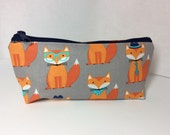 Fox pencil pouch/ Makeup bag