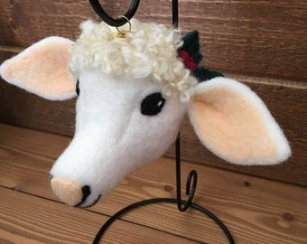 Ewe Lamb Ornament, 100% Wool Needle Felt, Snow White and Peach, Border Leicester Natural Locks, Gold Metal Ornament Top - Gift Boxed (ELOR2)