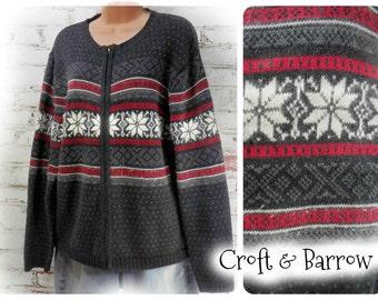long sleeve sweater - ski sweater -Nordic sweater - grunge sweater - snowflake sweater - large sweater # 62