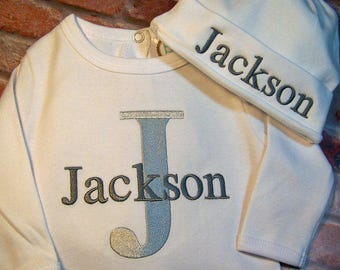 Monogram Baby Boy, Take Home Outfit, Bib, Burp Cloth, Personalized Baby Boy, Coming Home Outfit, Layette Gown or Bodysuit, W/ Hat Option