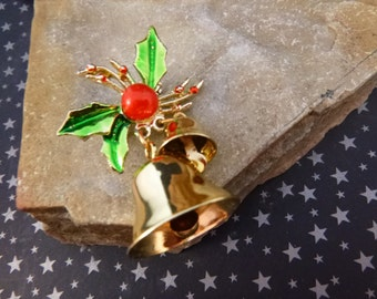 Bells. Bells. Bells. | Bells with Holly Vintage Pin |The Sounds of Christmas Brooch | Holiday Ringing Bell Pin