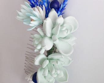 MADE TO ORDER. Succulent Hair comb.  Succulent hair clip, wedding succulent. Bridal succulent hair accessory. Blueberry hair piece.