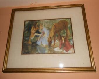 Vintage Renaissance Girl Women Horse Minstral Print Wood 20 x 17 Frame