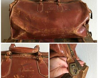 Distressed Antique Leather Travel Bag Vintage Doctor Bag