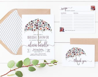 Bridal Shower Invitation Recipe Card and or Thank You Card Watercolor Floral Umbrella Printed Or Print Yourself Digital