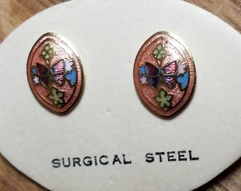 Vintage Butterfly Cloisonne Earrings