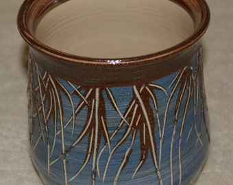 Utensil Jar, Pot, Container, Stoneware, Ceramic, Kitchen, Blue, Brown, Off White, Seaweed, Wheat, Textured