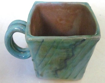 "Handmade Earthworks Ceramic Pottery ""Blue Otis"" Square Mug Barbados by Goldie Spieler"