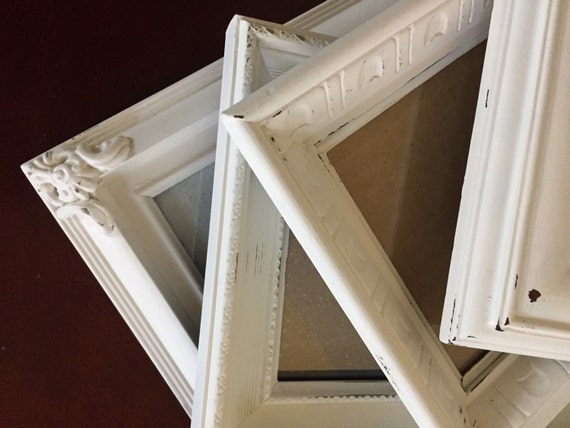 Shabby Chic Ornate Picture Frames Soft White Distressed
