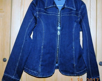 Christine Alexander Denim Jacket with Swarovski Crystals Size S