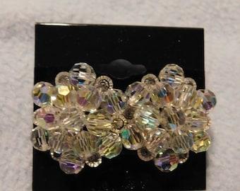 Vintage Faux Crystal Beads Pierced Earrings