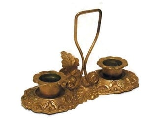 Victorian gilded double  candle stick circa 1890s candle holder Go To Bed or Chamber Stick.  Oak leaves and acorns. Traditional