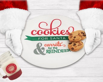 Milk & Cookies Set - Christmas Decor - Children's Gift - Reindeer Food - Cookies for Santa - Christmas Eve Tradition - Personalized Gift