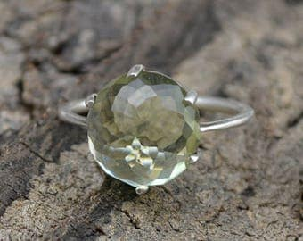 Rose Cut Prasiolite Ring, Round Green Quartz Ring, 925 Sterling Silver Ring, Prong Set Ring, Green Ring, Gift For Her, Birthstone Green Ring