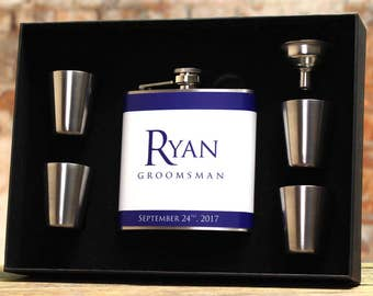 Gifts for Groomsmen, Personalized Flasks, Set of 5, Blue Flask